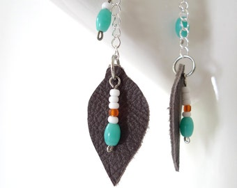 tribal dangle earrings - turquoise, white, orange glass beads on leaf shape leather - sterling silver wires, silver plated chain - woodland