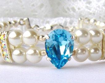 Aquamarine rhinestone and ivory pearl double strand bracelet / March birthstone / Birthday gift / Swarovski / gift for her girlfriend gift