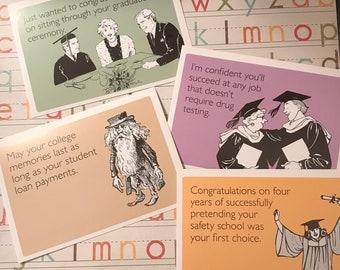 Snarky graduation postcards