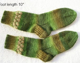 "Wool socks hand knit.  Foot length 10"" . Variegated soft wool. Reinforced heel. Boot socks. Slipper socks. Ready to ship"