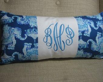 "Lilly Pulitzer Accent Pillow 10""x20"" (Joy Ride)INSERT INCLUDED/Preppy /DormBedding/Nursery Gift/Sorority/Girls Room"