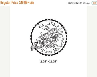May Sale Mermaid Swimming with Fishes Personalized Bookplate Ex Libris Rubber Stamp J12