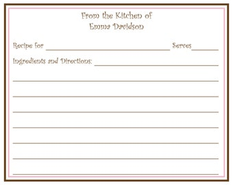 Pink and Brown Personalized Recipe Card