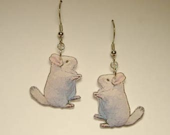 Handcrafted Plastic Albino Chinchilla Dangle, Hook, Clipon, Leverback, Earrings