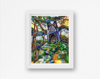 Bat Art Work Bat Artwork Bat Lovers Bat Poster Bat Painting Bat Wall Art Contemporary Art Print Animals San Diego Artist Bat Print Landscape
