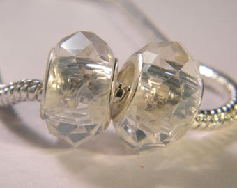 bead charm European-14 x 10 mm transparent-C37 faceted glass