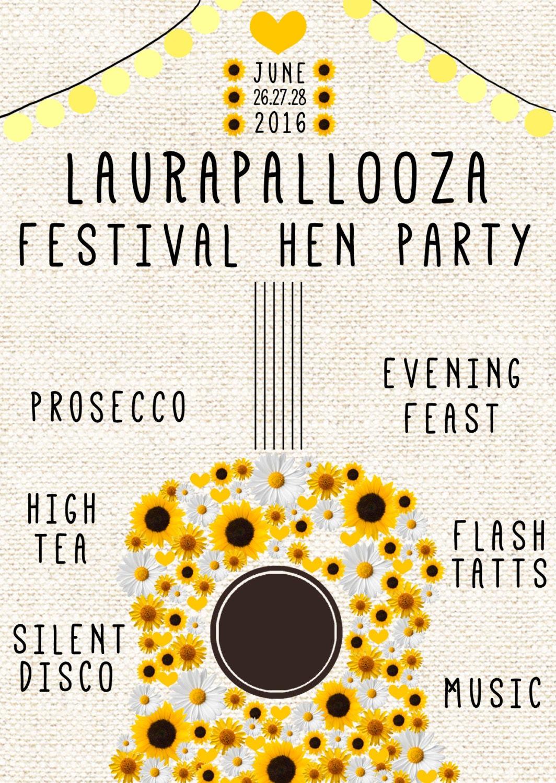 Hen Party Invitation Music Festival Themed Digital