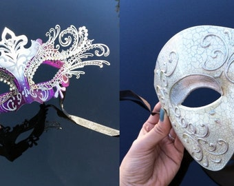Couples Masquerade Mask, Masquerade Masks, Masquerade Ball Masks, Mens Masquerade Mask, Lady's Phantom Mask [Silver Phantom Set]