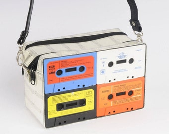 Cassette crossbody bag, FREE SHIPPING, Sustainable design, green products, eco friendly gift, upcycling by milo, reduce reuse recycle