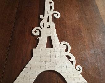 Handmade Custom Wooden Paris Eiffel Tower Jigsaw Puzzle Wedding Guest Book