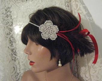 GATSBY headpiece RED SILVER Gatsby headband 1920's headband red headband roaring 20's flapper headband hair accessories bridal accessories