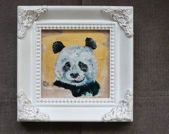 Pom-Pom-Panda, Mini Painting, Mixed Media