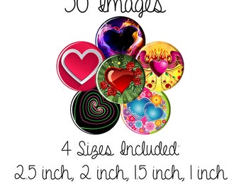Hearts Digital Collage Sheet Circles, Bottle Caps, Round Pendants Cabochon Button 2.5 inch, 2 inch, 1.5 inch, 1.25 inch ,1 inch