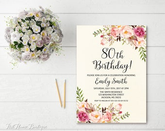 80th birthday invitations etsy 80th birthday invitation any age women birthday invitation floral ivory birthday invitation boho filmwisefo Choice Image