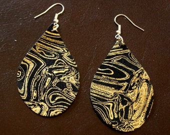 Black/Gold Leather Earrings