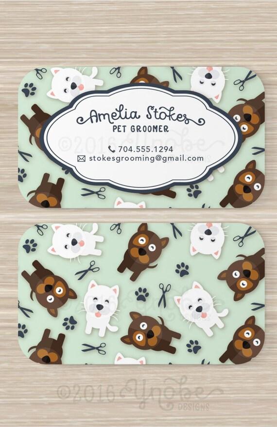 Pet Groomer Business Card Pets Cat Dog Walker Pet