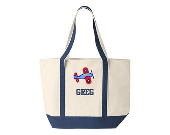 Family Canvas Tote Personalized with Airplane Embroidery