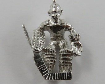 Hockey Goalie Sterling Silver Vintage Charm For Bracelet