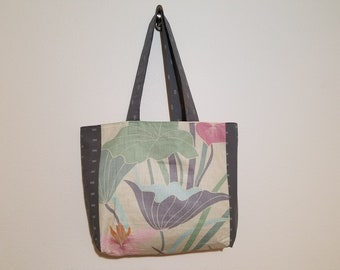 Tote Bag / Upcycled / 80s Floral / Gray Pattern