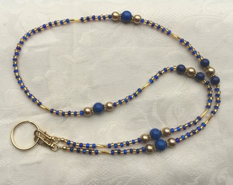 Beaded ID Badge Lanyard Blue & Gold Beaded Lanyard