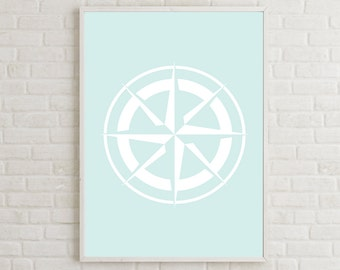 Compass Rose Decor, Compass Wall Art, Printable Windrose, Printable Rose of the Winds Wall Art, Coastal Printable, Coastal Decor Print