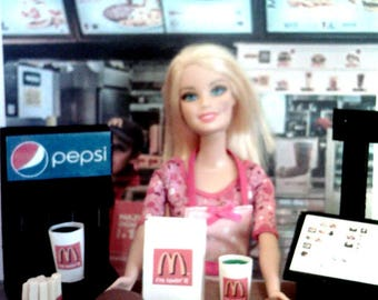 "Barbie Sized 13"" Doll 1/6 Scale McDonald's Counter Play Set Handmade"