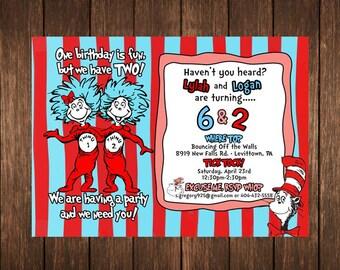 Dr. Seuss Thing 1 Thing 2 Birthday Invitations PRINTED
