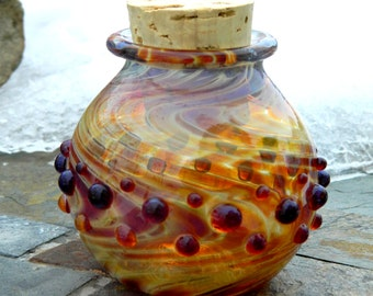 Hand Blown Amber Purple Stash Jar