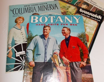 Lot Vintage Knitting Pattern Books Knit Sweater Patterns 1950s-1960s Mid Century Knitting Books Instructions