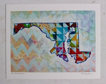 Maryland State Silhouette Colorful Rainbow Chevron Mixed Media Art Print Gifts Under 25 Home Decor Maryland Gifts For Him Gifts for Her