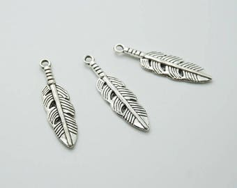 SET of 5 3cm (D67) silver feather charm