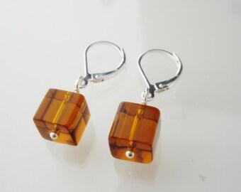 BROWN EARRINGS - brown glass earrings, handmade jewelry, modern and geometric, for a good cause, i love my dog jewelry