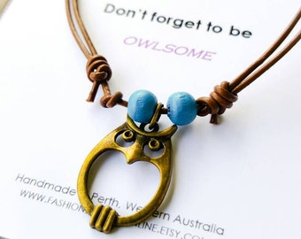 Owl anklet Boho ankle bracelet Bohemian anklet adjustable leather anklet Teen anklet Bohemian Jewelry Inspirational jewelry Gift Ideas