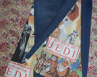 Star Wars Bell Bottom Abercrombie High Rise USA md Hippie Jeans OOAK Return Jedi Boho Upcycled Flare Jean Unique Bell Bottoms Adult Jeans 32