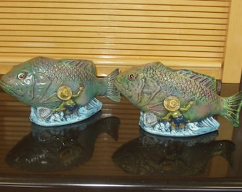 Pair Of Indoor Outdoor Fish Flower Pot/Planters Ceramic Handcrafted Hand Painted