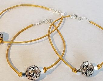 Yellow Leather Mosaic Silver Bead Bracelet