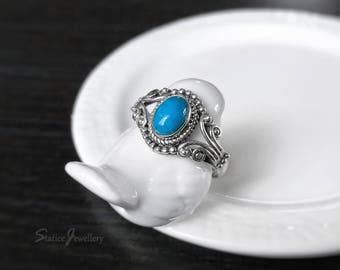 Bague turquoise en argent Sterling, fini Antique, véritable naturel bleu Turquoise, Boho Bohème, Style Vintage, Pierre de naissance décembre, grandeur 7.5