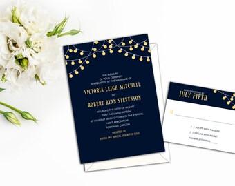 Party Lights Wedding Invitation Set, Party Wedding Invitations, Wedding Response Cards, Elegant Party Invites, Thank you cards, Invitations