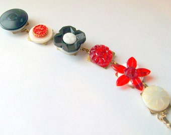 Vintage Recycled Buttons Bracelet Black Red and White