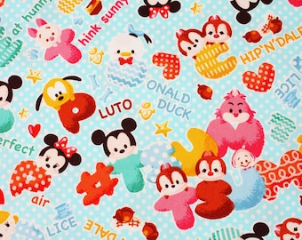 "Tsum Tsum Characters Oxford Fabric made in Japan FQ 45cm by 53cm or 18"" by 21"""