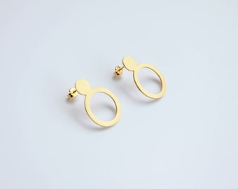Gold Circle Stud Earrings, Gift for her, 24K Gold Plated Sterling Silver Double Circle Cut Out Post Earrings, Gold Geometric Post Earrings