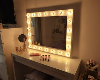 Hollywood lighted vanity mirror large makeup mirror with for Illuminated mirrors ikea