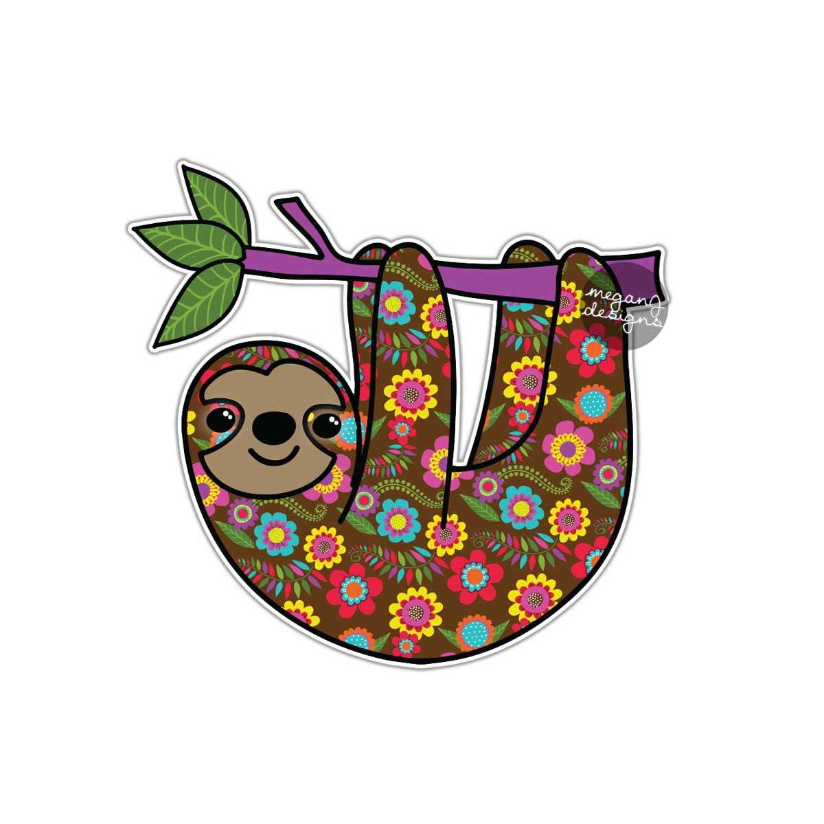 Sloth Sticker Colorful Car Decal Laptop Decal Bumper Sticker