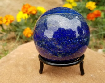 Dark Blue Lapis Lazuli Sphere with Pyrite | 71mm Lapis Sphere | Healing Crystal | Mineral Specimen #28