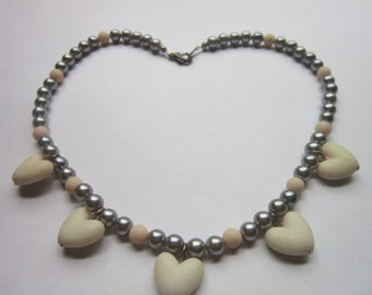 Vintage Girls 5 Heart Pendant and Silver Bead Necklace Pretty