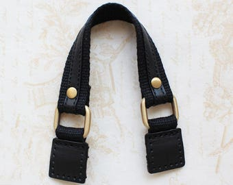 """10.5"""" Black Leather&Webbing Purse Strap Replacement"""