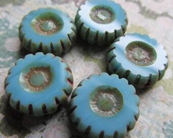 12mm SKY BLUE Daisy Flower Czech Glass Beads, 12mm Czech Glass Flower, Blue Czech Glass, Flower bead, Czech Daisy, DAISY12-SKYBLUE