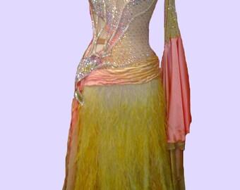 Ballroom Dance  Dresses  Yellow and Pink     Ballroom Dancing Dresses