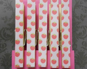 Clothespin Magnets, Set of 5, Pink Strawberries