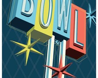 Premiere Lanes, bowling poster, bowling print, bowling wall art, bowling art print, Poster, bowling, bowling art, Wall decor, Home decor